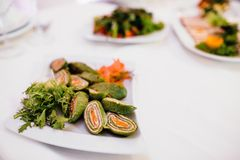 Photo of snack platters on the table royalty free stock photos