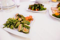Photo of snack platters on the table royalty free stock photo