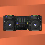 Plattform Digital DJ, Mischer Vektor Stockfotos