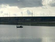 Plattform i en sjö royaltyfri foto