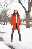 plattform kvinna för snow arkivbild