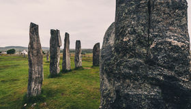 plattform stenar för callanish royaltyfri foto