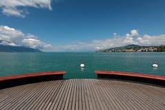 Plattform Sur Mer på sjöGenève i Montreux Fotografering för Bildbyråer