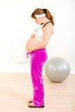 plattform viktkvinna för gravid scale royaltyfri fotografi