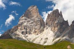 Plattkofel和Grohmannspitze, Italien欧洲人阿尔卑斯 免版税图库摄影