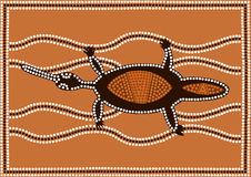 Platypus. A illustration based on aboriginal style of dot painting depicting platypus Stock Photo