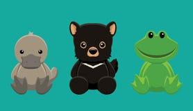 Platypus Devil Frog Doll Set Cartoon Vector Illustration Stock Image