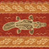 Platypus and fish tribal pattern. Platypus and fish; a tribal pattern in an australian aborigine style Royalty Free Stock Photos