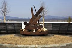 Platz für ein Feuer auf dem Hotel Rixos Borovoe Stockbild