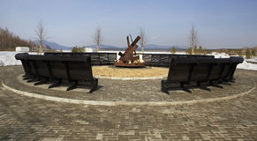 Platz für ein Feuer auf dem Hotel Rixos Borovoe Lizenzfreie Stockbilder
