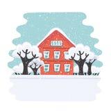 Platz für Winterferien Autumn House Familienvorstadthaus Flache Illustration des Vektors Stockbild