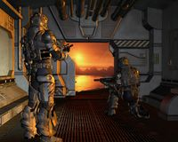 Platz-Marinen, die auf einem roten Planeten ankommen Lizenzfreies Stockbild