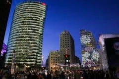 Platz na noite, Berlim de Potsdamer, alemão Fotografia de Stock Royalty Free