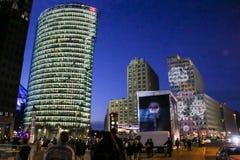 Platz na noite, Berlim de Potsdamer, alemão Imagens de Stock