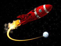 Platz Rocket von der Erde Stockbilder