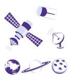 Platz- und Satelitteikonenblauset Stockfoto