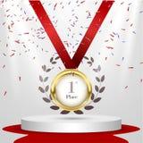 1. Platzplakat- oder -broschürenschablone Auch im corel abgehobenen Betrag Podiumpreis, Medaille für den ersten Platz Goldmedaill Stockfoto