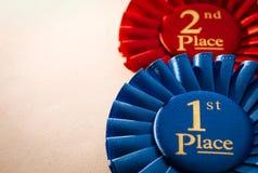 1. Platzsiegerrosette oder -ausweis Lizenzfreies Stockfoto