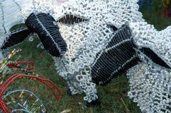 Plaudern mit zwei Schafen Stockbilder