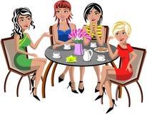 Plaudernde Frauen, die Tabellen-Kaffee-lokalisiert sitzen vektor abbildung