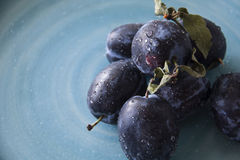 Plaums on the plate indoor. Picture of fresh plums on plate indoor Stock Image