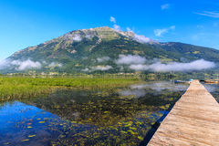 Plavsko lake. Amazing view on the mountain and clouds Stock Photos