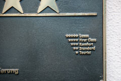 Plawue metálico con las graduaciones del hotel Foto de archivo