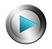 Play. Blue and chrome play button over white background Royalty Free Stock Images