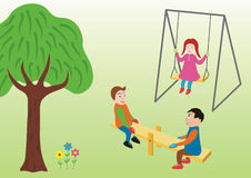 Play. Three child play by the side of the tree vector illustration