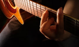Play acoustic guitar,guitarist or musician Royalty Free Stock Photos