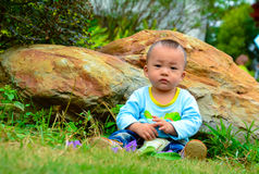 Play alone Baby(Asia, China, Chinese) Royalty Free Stock Images