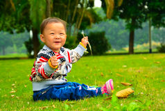 Play alone the little girl was glad to bristlegrass(Asia, China, Chinese) Royalty Free Stock Images
