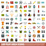 100 play area icons set, flat style Royalty Free Stock Image