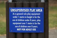 Play area warning sign. Stock Images