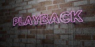 PLAY-BACK - Glühende Leuchtreklame auf Steinmetzarbeitwand - 3D übertrug freie Illustration der Abgabe auf Lager Stockfotografie