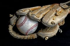 Play Ball. Baseball Mitt and Baseball Glove Stock Photo