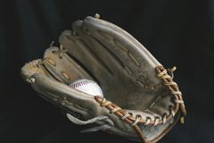 Play Ball. Baseball Mitt and Baseball Glove Royalty Free Stock Images
