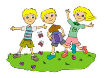 Play ball. Cute illustration of three happy cartoon kids running and playing ball Royalty Free Stock Images