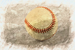Play ball. A base ball on a  brown back ground with a white  border Royalty Free Stock Photography