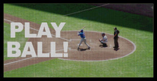 Play Ball on Baseball Jumbotron Screen Stock Image