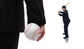 Play Ball ! Business man take baseball Royalty Free Stock Images