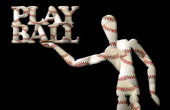 Play ball manikin text baseballs Stock Photos