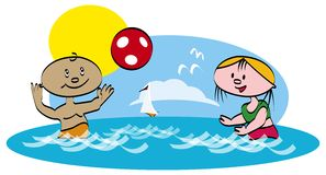 Play the ball in sea. Vector illustration Stock Images