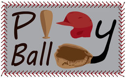 Play Ball Text with baseball images Stock Photo