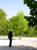 Game of petanque. Man on playing pitch during game of petanque stock photos