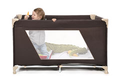 Play bed. Happy kid playing in his play bed Stock Photography