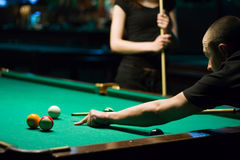 Play in billiard Stock Photos