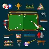 Play Billiards Flat Icon Set Stock Photo