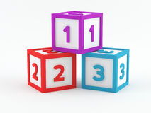 Play blocks - 123. Play blocks with the numbers 1 2 3 Royalty Free Stock Images