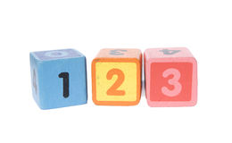 Play blocks with 123 numbers. On white background Royalty Free Stock Photo